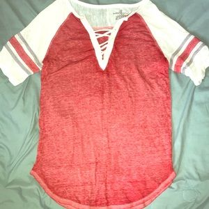 Tops - Red and White Ladies Baseball Tee